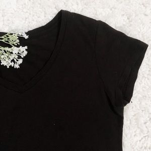Vintage Tops - Vintage • Black V-Neck Short Sleeve Tee Shirt